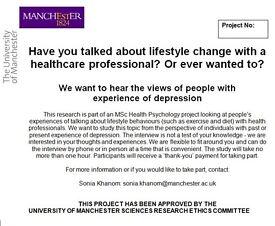 Psychology study on lifestyle change- The University of Manchester
