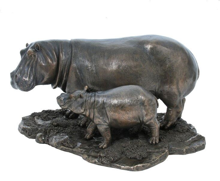 "12.5"" Hippopotamus & Baby Hippo Nature Wildlife Animal Statue Wild Sculpture"