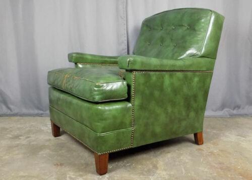 Vintage Baker Furniture green leather club arm chair nailhead trim