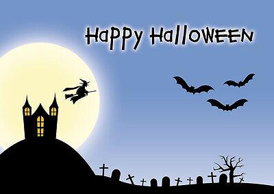 2 Postkarten Happy Halloween im Geisterschloß, Hexen Fledermäuse Vollmond Gräber ()