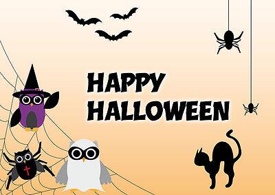 Happy Eule 2 Postkarten Spider Eulen Halloween Spinnen Fledermäuse Geister owl  ()