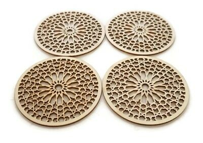 4 Moroccan Tile Design Unfinished Wood Shapes Craft DIY Decorative Coasters ](Diy Wood Coasters)