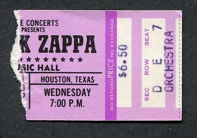 Original 1977 Frank Zappa concert ticket stub Houston Texas Zoot Allures