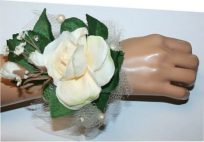 Prom, Wedding Accessories, White-off Flowers Corsage, Flower Wristlet
