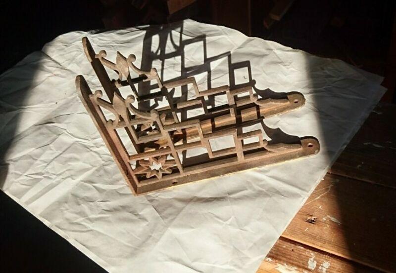 Antique Iron shelf brackets - pair of two
