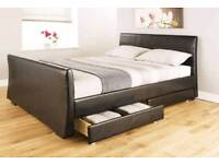 Double leather bed frame with mattress
