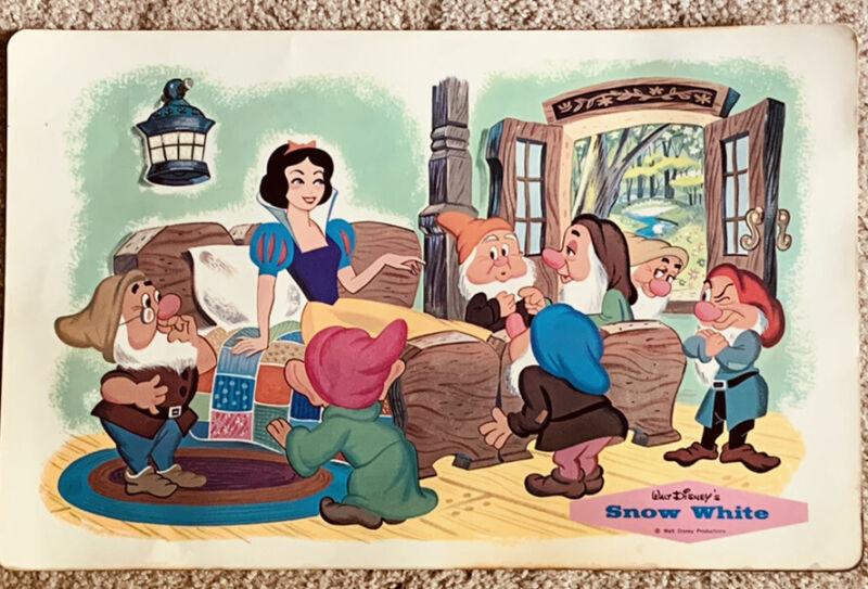 Walt Disney Placemat 1960's Vintage Snow White & The Seven Dwarfs