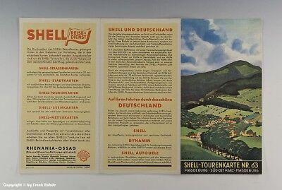 SHELL-TOURENKARTE MAGDEBURG-SÜD OST HARZ um 1925