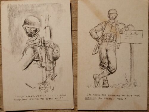 WWII Comic Marshall Davis Art They Asked for It & Nothing to Seeing You!