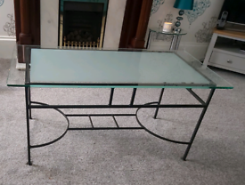 Glass top wrought iron coffee table and side table