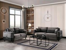 Grey Velvet Sofabeds 3+2 Seater Full Set Including local delivery