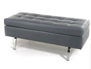 Grey Leather Like Bench