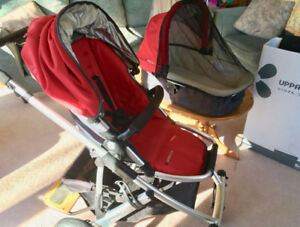 UPPABABY VISTA STROLLER WITH BASSINET, PIGGYBACK AND ADAPTOR