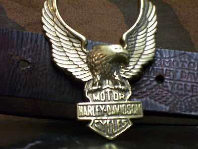 HARLEY-DAVIDSON BAR & SHIELD/EAGLE~ MOTORCYCLE  BELT BUCKLE! vtg******