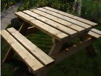Picnic Bench, Handmade, Extra Heavy Duty Classic, Pub Style 1.2m/4ft
