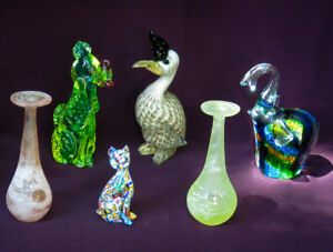 MURANO ART GLASS. FIGURINES. CANDLE HOLDERS.