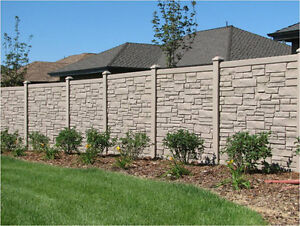 30ft of Simtek stone fence tan in color 6ft high