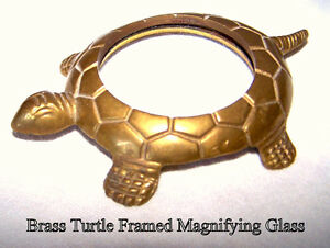 Brass Turtle Casting desk magnifier glass paperweight like new