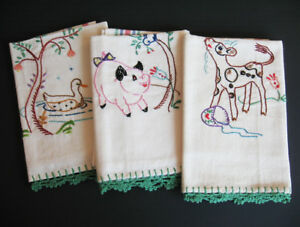 Set of 3 Vintage Embroidered Tea Towels with Farm Animals