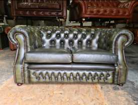 Antique Green 2 Seater Chesterfield