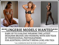 LINGERIE MODELS WANTED, MAKE UP TO $100 A DAY