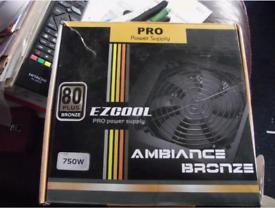 EzCool Tesla Pro PC Power Supply PSU 750w 80 Bronze Plus