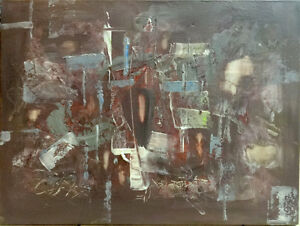 "18x24"" / ORIGINAL ABSTRACT ART Painting 'GHOST SHIP' Canada Canadian ART/ maroon background subtle / OAKVILLE ARTIST"