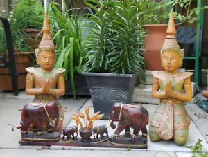 Pair Hand Carved Solid Wood Teppanom, Buddhas