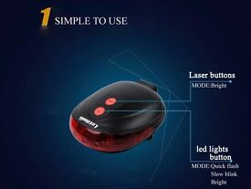 Letdooo Bike Bicycle Laser Tail Light Led Tail Light Rear Light Lamp Flashlight