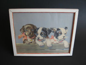 Vintage Puppy Print in Wooden Frame