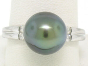 DIAMOND & LARGE, RARE TAHITIAN PEARL RING IN 14 KT. WHITE GOLD.
