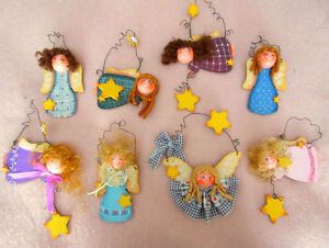 Wood GIRLS & STARS Angel Hanging Ornaments - Hand Painted