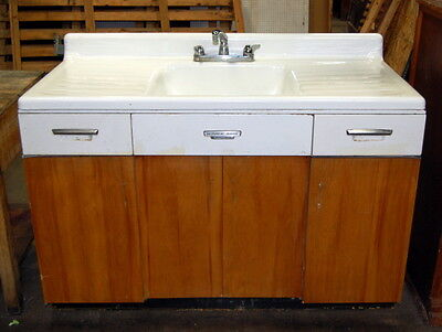Antique Cast Iron Farmhouse Sink with Wood & Metal Base, Vintage Plumbing,