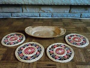 Vintage Straw Woven Trivets or Hot Pads