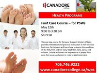 Foot care for PSW, Parry Sound, Canadore College