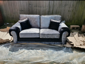 Milan 3 seater crushed velvet sofa seater Black and silver