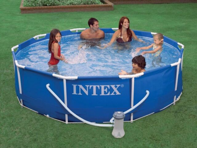 intex 10 x 30 metal frame swimming pool set with filter pump 28201eh