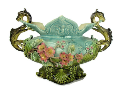Gothic Antique French Centerpiece Dragon Handles Majolica Barbotine Planter WOW
