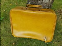 Gorgeous Retro Mustard Suitcase - Unusual Cheney fastening