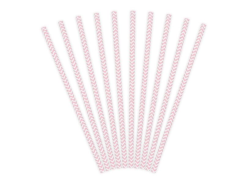 20 Papierstrohhalme rosa weiß Trinkhalm Strohhalm aus Papier, 19,5 cm
