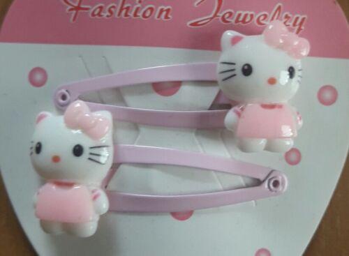 2x rosa Haarspangen Haarklammern Haarschmuck Kinder Hello Kitty Rosa  ♡