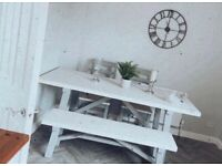 Solid wood table, chairs and bench