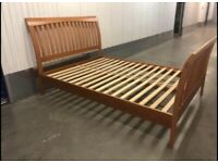Solid wood sleigh double bed frame with clean mattress great condition