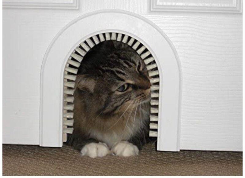 Cat Hole ~ Original Cathole Pet Door w/Removable Grooming Brush, Wood Frame