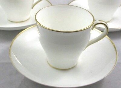 MINTON China Bone White with Gold Rim DEMITASSE Cups & Saucers 2 SETS / 4 Pieces