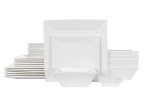 24-Piece Classic Square Dinnerware Set for 6, White Porcelai