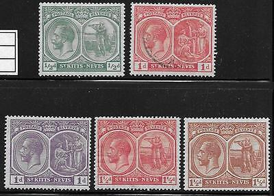 St. Kitts - Nevis - 1922-9 Sc #37-41 MH & VFU - CV $15.10