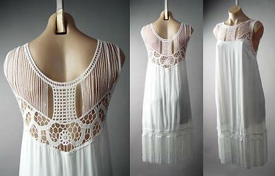 White Fringe 20s Flapper Goddess Great Gatsby Theme Party 148 mv Dress S M L - 20s Themed Party