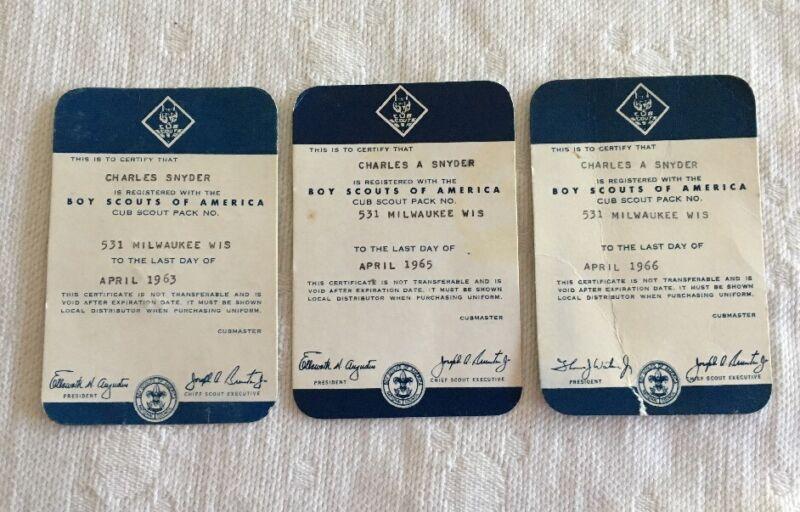 Cub Scout Boy Scouts Of America Registered Certificates (3) 1963, 1965, 1966 BSA