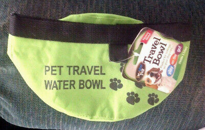 Bow Wow Pals Travel Bowl Lime Green Fabric Collapsible Dogs Holds 1 Liter Water